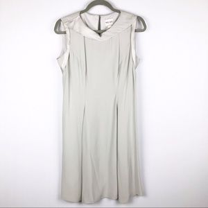 Reiss Gray Sleeveless Dress w/Silky Collar Trim